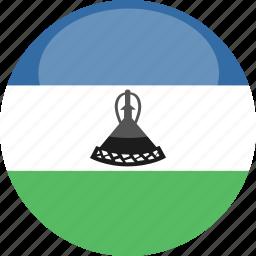 circle, flag, gloss, lesotho icon