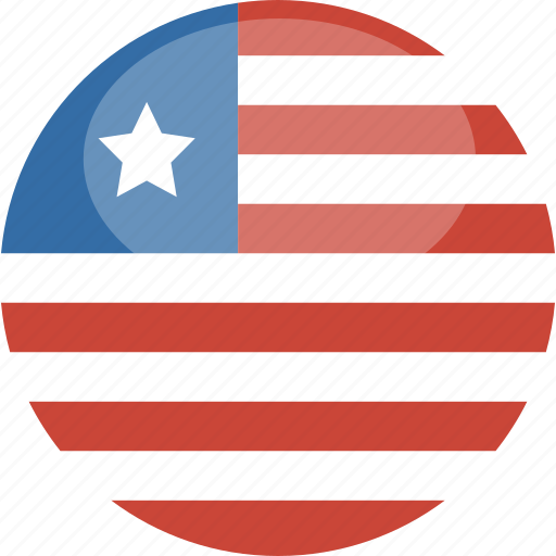 circle, flag, gloss, liberia icon