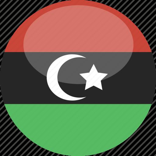 circle, flag, gloss, libya icon