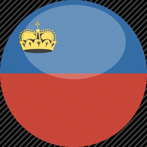 circle, flag, gloss, liechtenstein icon