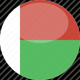 circle, flag, gloss, madagascar icon