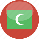 circle, flag, gloss, maldives icon