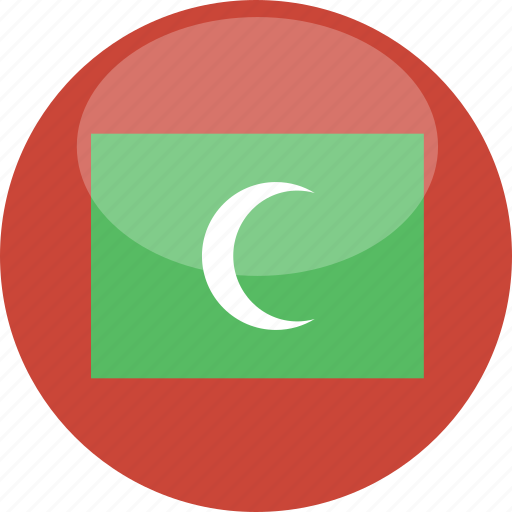 circle, flag, gloss, maldives icon