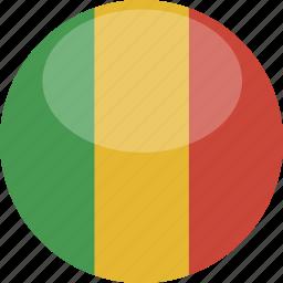 circle, flag, gloss, mali icon