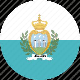 circle, flag, gloss, marino, san icon