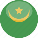circle, flag, gloss, mauritania icon