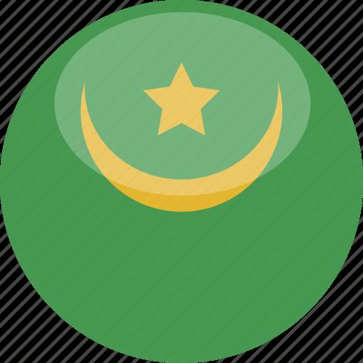 circle, flag, gloss, mauritania icon