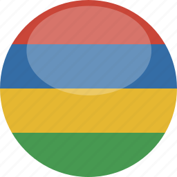 circle, flag, gloss, mauritius icon