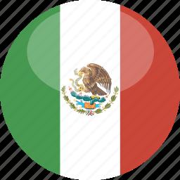 circle, flag, gloss, mexico icon