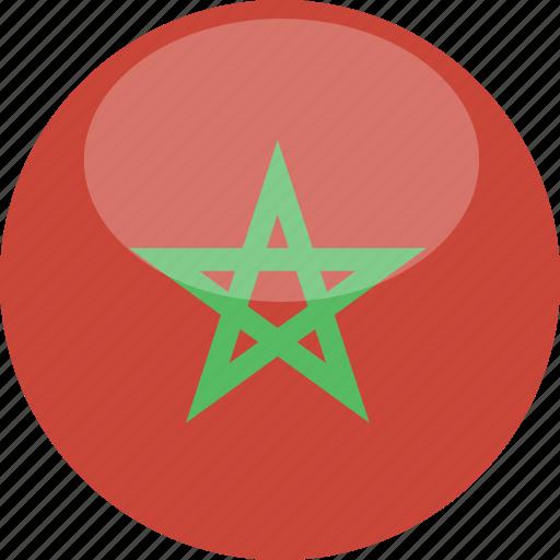 circle, flag, gloss, morocco icon