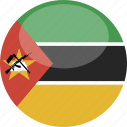 circle, flag, gloss, mozambique icon