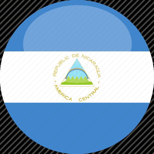 circle, flag, gloss, nicaragua icon