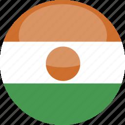 circle, flag, gloss, niger icon