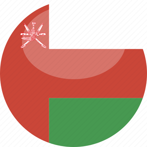 circle, flag, gloss, oman icon