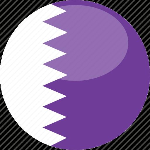 circle, flag, gloss, qatar icon