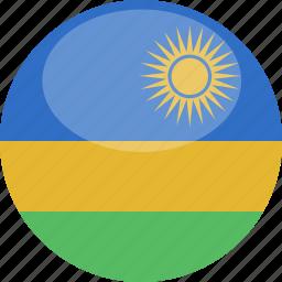 circle, flag, gloss, rwanda icon