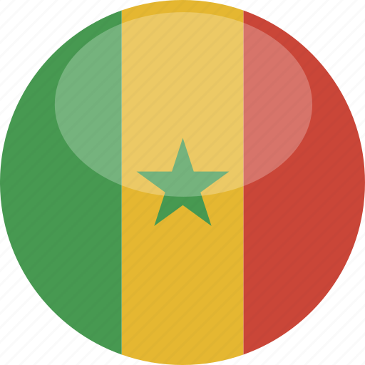 circle, flag, gloss, senegal icon