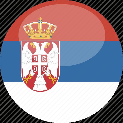 circle, flag, gloss, serbia icon