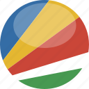 circle, flag, gloss, seychelles icon