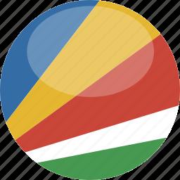 circle, flag, gloss, seychelles icon
