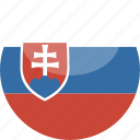 circle, flag, gloss, slovakia icon