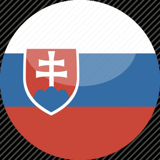 circle, flag, gloss, slovakia icon