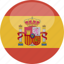 circle, flag, gloss, spain icon