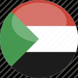 circle, flag, gloss, sudan icon