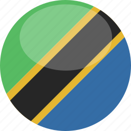 circle, flag, gloss, tanzania icon