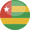 circle, flag, gloss, togo icon