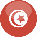 circle, flag, gloss, tunisia icon