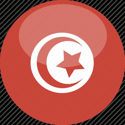 circle, flag, gloss, tunisia icon