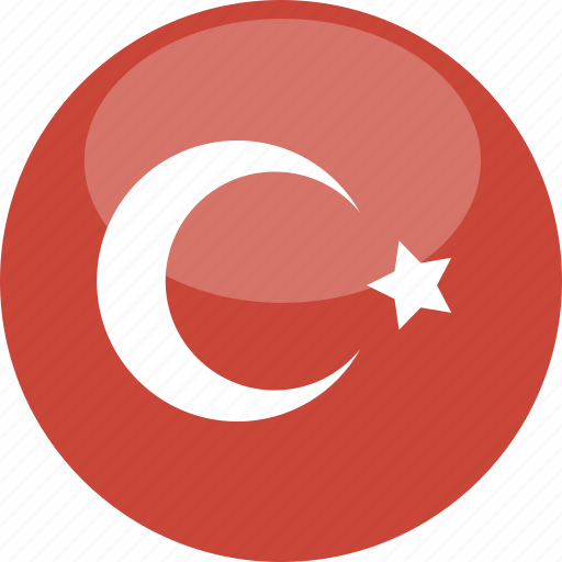 circle, flag, gloss, turkey icon