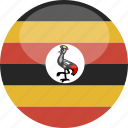 circle, flag, gloss, uganda icon