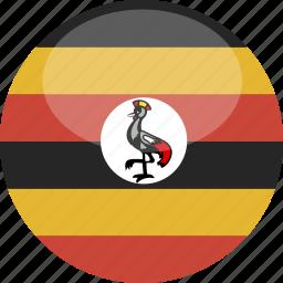 circle, flag, gloss, uganda icon