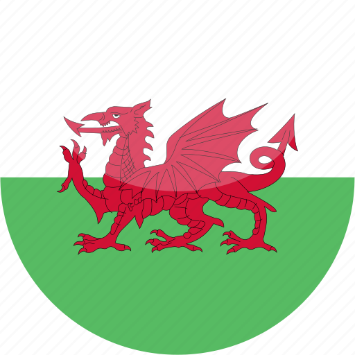 circle, flag, gloss, wales icon