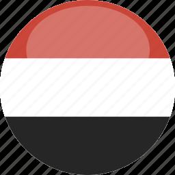 circle, flag, gloss, yemen icon