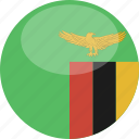 circle, flag, gloss, zambia icon