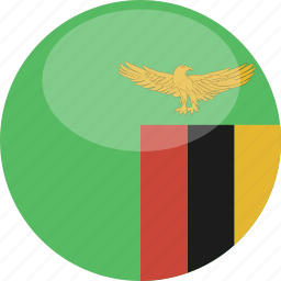 circle, flag, gloss, zambia icon