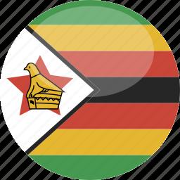 circle, flag, gloss, zimbabwe icon
