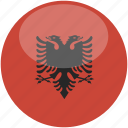 albania, circle, flag, gloss icon