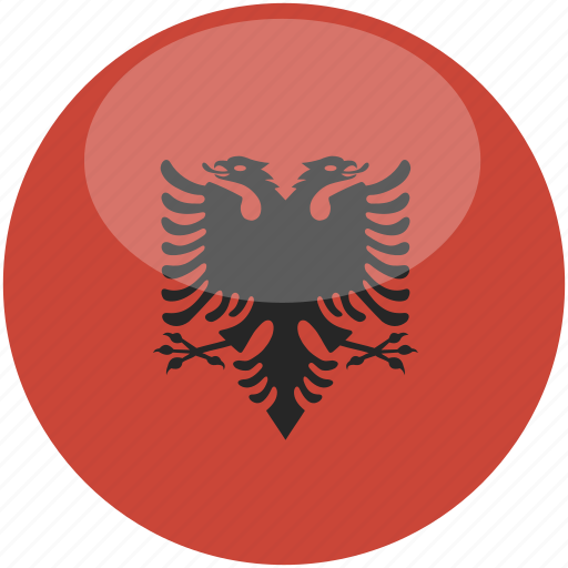 albania, circle, flag, gloss icon