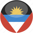 and, antigua, barbuda, circle, flag, gloss icon