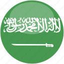 arabia, circle, flag, gloss, saudi icon