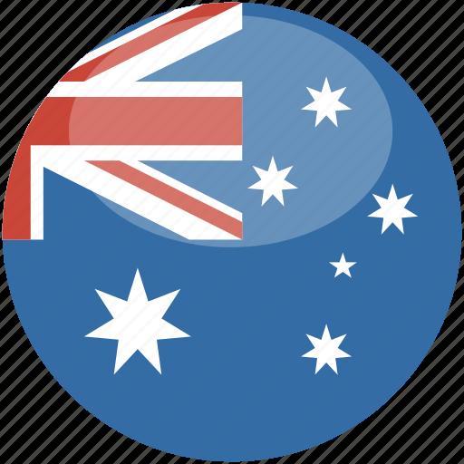 australia, circle, flag, gloss icon