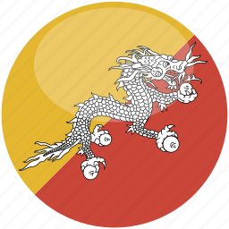 bhutan, circle, flag, gloss icon