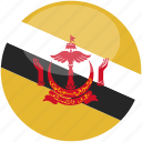 brunei, circle, flag, gloss icon
