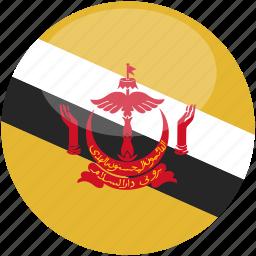 brunei, circle, flag, gloss icon