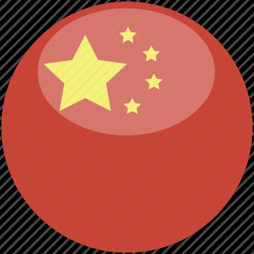 china, circle, flag, gloss icon