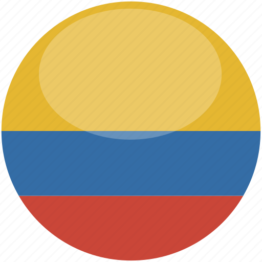 circle, colombia, flag, gloss icon